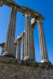 Ancient 1st century Roman temple. Of Diana in Evora, Portugal stock images