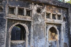 The ancient abandoned Arab city of Gede, near Malindi, Kenya. Classical Swahili architecture. stock image