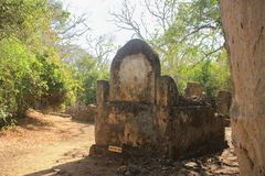 The ancient abandoned Arab city of Gede, near Malindi, Kenya. Classical Swahili architecture. royalty free stock image