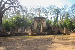 The ancient abandoned Arab city of Gede, near Malindi, Kenya. Classical Swahili architecture. royalty free stock images