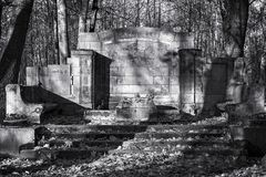 Old abandoned cemetery black and white landscape royalty free stock photo