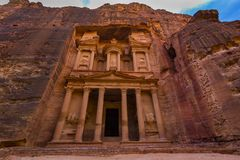 Ancient abandoned rock city of Petra in Jordan. Tourist attraction royalty free stock photography