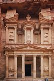 Ancient abandoned rock city of Petra in Jordan. Petra is one of the New Seven Wonders of the World royalty free stock photos