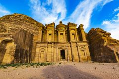 Ancient abandoned rock city of Petra in Jordan. Tourist attraction stock photography