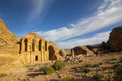 Ancient abandoned rock city of Petra in Jordan. Tourist attraction royalty free stock photo