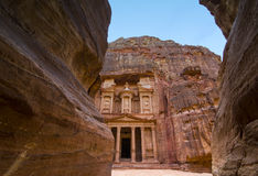 Ancient abandoned rock city of Petra in Jordan Royalty Free Stock Photos