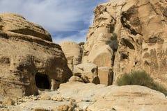 Ancient abandoned rock city of Petra in Jordan Stock Image