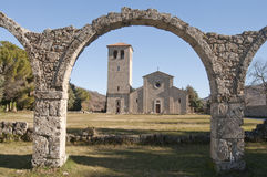 Ancient abbey of Castel San Vincenzo al Volturno. The ancient abbey of Castel San Vincenzo with the remains of a portico of the thirteenth century stock images