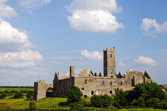 Ancient abbey in ireland stock photo