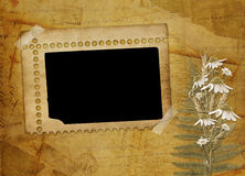 Ancient abstract background with frame. And floral beautiful bouquet stock illustration