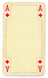 Ancient ace of diamonds playing card paper background Stock Images