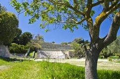Ancient acropolis amphitheatre in Rhodes, Greece Stock Photography