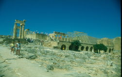Ancient Acropolis in Rhodes. Lindos city. Greece Royalty Free Stock Images