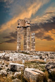 Ancient Acropolis of Rhodes at Sunset Royalty Free Stock Photos