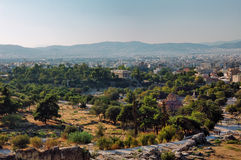 Ancient Agora. Of Athens with temple of Hephaestus Stock Photo