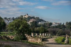 Ancient Agora archaeological site in Athens. Greece stock photo