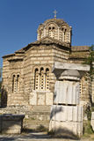 Ancient Agora at Athens city in Greece. (Byzantineold church Stock Photography