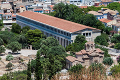 Ancient Agora Athens Greece. The museum and an orthodox church in Ancient Agora, Athens, Greece Stock Image