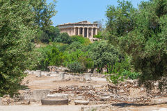 Ancient Agora of Athens, Greece. Beautiful view of the temple of Hephaestus in the Ancient Agora of Athens, Greece Royalty Free Stock Photos