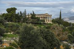 Ancient Agora in Athens, Greece. Temple of Herphaesus in the Ancient Agora in Athens, Greece Stock Photo