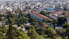 The Ancient Agora, Athens, Greece. View of the Ancient Roman Agora, featuring the Stoa of Attolos, from the Acropolis, Athens, Greece, with high density city Stock Photo