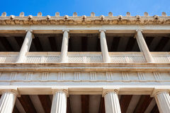 Ancient Agora in Athens. The Stoa of Attalos or Attalus was a stoa in the Ancient Agora of Athens in Greece Stock Image