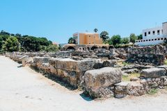 Ancient Agora in Kos island, Greece. Ancient Agora ancient ruins in Kos island, Greece Royalty Free Stock Photography