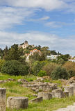 Ancient agora ruins and Observatory of Athens Stock Image