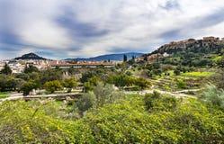 Ancient Agora Stoa Parthenon Acropolis Athens Greece royalty free stock photos