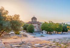 Ancient Agora on sunset. The sunset sky over the ancient Greek Agora and the church of Holy Apostles, Athens, Greece Stock Photography