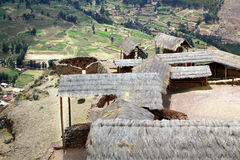 Ancient agricultural terraces of the Pisac Sacred Valley in Peru Stock Photo