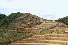 Ancient agricultural terraces of the Pisac Sacred Valley in Peru Royalty Free Stock Images
