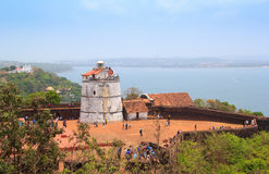 Ancient Aguada Fort and lighthouse was built in the 17th century. Royalty Free Stock Images
