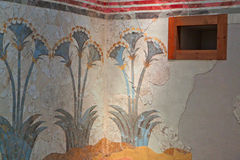 Ancient Akrotiri settlement at Santorini. Island in Greece. Detail of a house Stock Photography