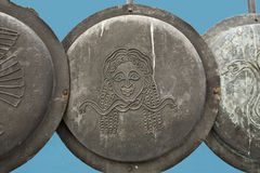 Ancient alike Greek shields. Decorative ancient alike Macedonian shields at Thessaloniki, Greece Royalty Free Stock Images