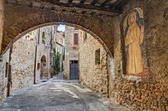 Ancient alley in Bevagna, Umbria, Italy Stock Photos