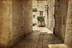 Ancient Alley in Jewish Quarter, Jerusalem. Royalty Free Stock Photography