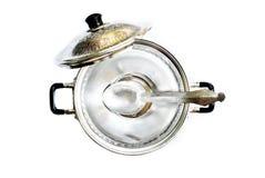 Ancient aluminum pot Royalty Free Stock Images