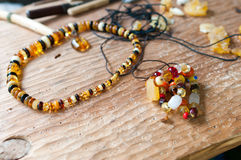 Ancient amber necklace Stock Photo