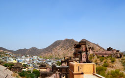 Ancient amer town in the foothills of aravali mountains, outskirt Jaipur Rajasthan India. Amer town has historic importance. It is spread in a small area of Royalty Free Stock Photography