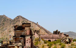 Ancient amer town in the foothills of aravali mountains, outskirt Jaipur Rajasthan India. Amer town has historic importance. It is spread in a small area of Royalty Free Stock Photos