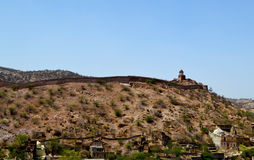 Ancient amer town in the foothills of aravali mountains, outskirt Jaipur Rajasthan India. Amer town has historic importance. It is spread in a small area of Royalty Free Stock Image