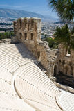 Ancient amphiteatr Odeon Gerodes Atticus Acropol Stock Image