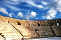 Ancient amphitheater. Of the period  Roman invasion in national park Caesarea on Mediterranean sea Stock Photo