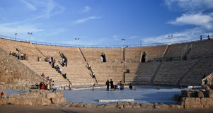 Ancient amphitheater. Of the period Roman invasion in national park Caesarea on Mediterranean sea Stock Photography