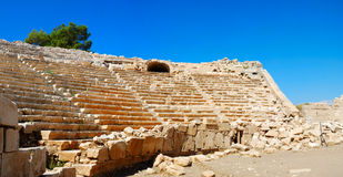 Ancient amphitheater. In Patara, Turkey. Stitched Panorama stock image