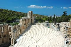 Ancient amphitheater at Acropolis,Athens,Greece Royalty Free Stock Photography