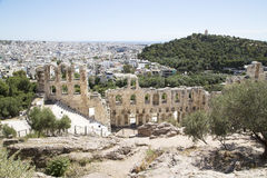 Ancient amphitheater at Acropolis hill Stock Photo