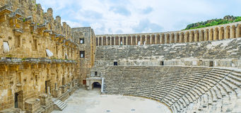 In ancient amphitheater of Aspendos Royalty Free Stock Image