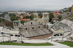Ancient amphitheater. In the ancient Bulgarian town of Plovdiv Stock Images